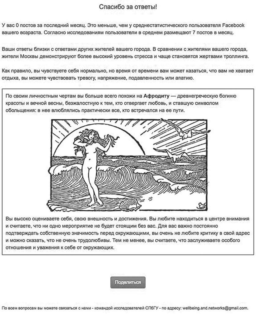 Рис. 4. Обратная связь для женщины-участницы, набравшей по шкале «нарциссизм» больше баллов, чем по двум другим шкалам «Темной триады»